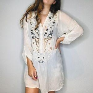 Johnny Was sheer silky crochet lace dress